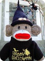 halloween witch hats black sock monkey