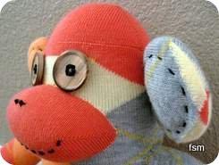 argyle sock monkey face