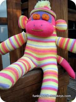 striped monkey sock doll