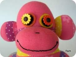 pink sock monkey face