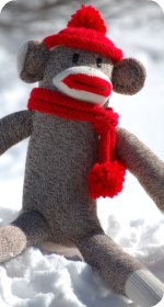 sock monkey hat roll brim hat