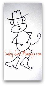 sock monkey clothing cowboy
