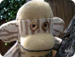 sock monkey doll face