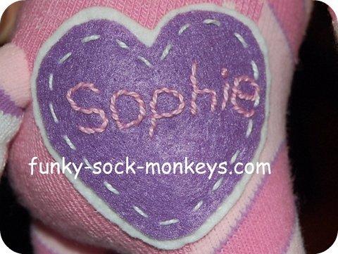 sock monkey label sophie