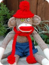 monkey hat sock monkey red roll brim hat