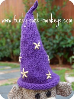toy hat sock monkey wizards hat purple