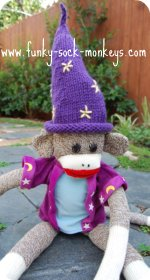 toy hat sock monkey wizards hat