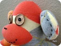 argyle sock monkey face