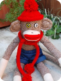 sock monkey hat and scarf