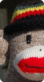sock monkey rasta colors hat