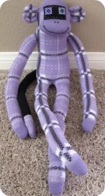 sock monkey purple knee high socks