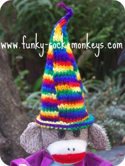 toy hat sock monkey wizards hat multi sections